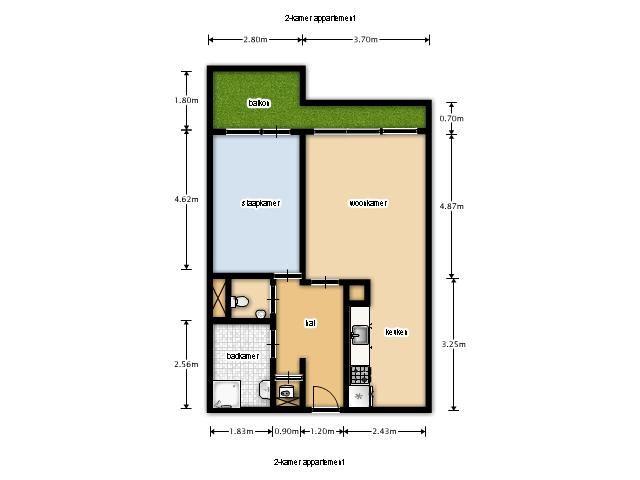Appartement te huur chopinlaan 68 6865 ex doorwerth funda - Kamer indeling ...