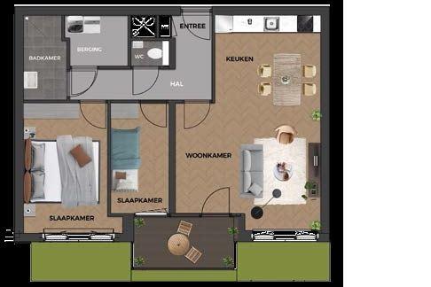 Bekijk foto 3 van 4|Centrumappartement|type B|De Smidse (Bouwnr. 4)