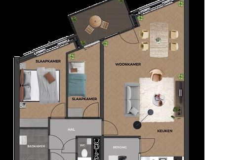 Bekijk foto 3 van 22|Centrumappartement|type D|De Smidse (Bouwnr. 22)