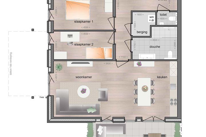Begane grond ruim appartement met terras (Bouwnr. 2)