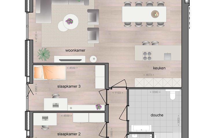 Begane grond ruim appartement met terras (Bouwnr. 3)