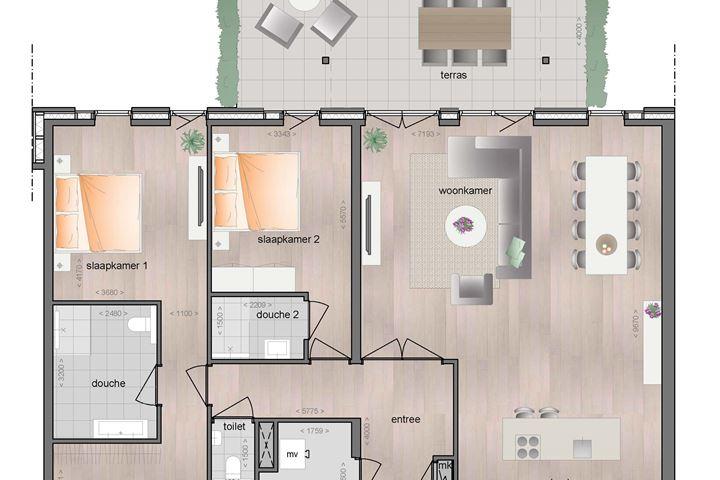 Begane grond ruim appartement met terras (Bouwnr. 4)