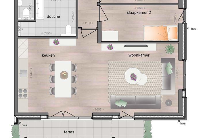 Begane grond ruim appartement met terras (Bouwnr. 6)